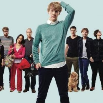Josh Thomas stands with other members of the cast of Please Like Me, and Australian TV show
